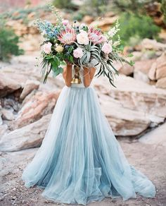Picture of an oversized coastal wedding bouquet with air plants, blush and blue blooms and king proteas Protea Wedding, White Wedding Bouquets, Blue Wedding, Trendy Wedding, Floral Wedding, Wedding Styles, Wedding Flowers, Dream Wedding, Wedding Day