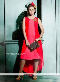 Blooming Faux Georgette Pink Designer Kurti