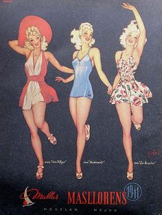 Masllorens swimsuit 1941 I'll take the one on the left please! - Masllorens vintage ad for swimsuit 1941 swimwear, bathing suit Ad Fashion, Swimwear Fashion, Retro Fashion, Vintage Fashion, Fashion Ideas, Bikini Fashion, Vintage Bathing Suits, Vintage Swimsuits, Pin Up