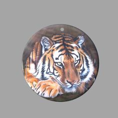 HAND PAINTED TIGER NATURAL MOTHER OF PEARL SHELL PENDANT ZP30 00809 #ZL #PENDANT