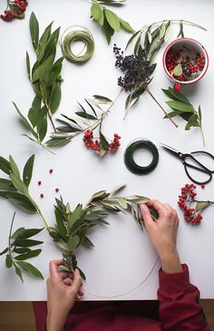 wreath gift toppers, olive and bay leaves, berries