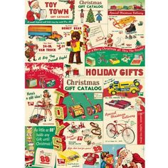 This Christmas Toys Wrapping Paper features images from vintage toy catalogs. Hang as a Christmas decoration or use in craft projects like scrapbooks and mod podge. Printed on archival-quality paper. Vintage Christmas Wrapping Paper, Vintage Christmas Images, Christmas Gift Wrapping, Vintage Holiday, Christmas Catalogs, Christmas Paper, Christmas Toys, Retro Christmas, Xmas