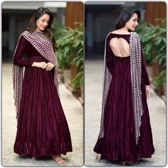 Wine maroon heavy tapeta silk partywear anarkali suit Fabric : Heavy tapeta silk gown with meter flair ( inner attach) Length duppata with full embroidery & foil work Bottom : NOWine maroon heavy tapeta silk partywear anarkali su Robe Anarkali, Costumes Anarkali, Lehenga, White Anarkali, Silk Anarkali Suits, Sarees, Churidar, Sharara, Patiala