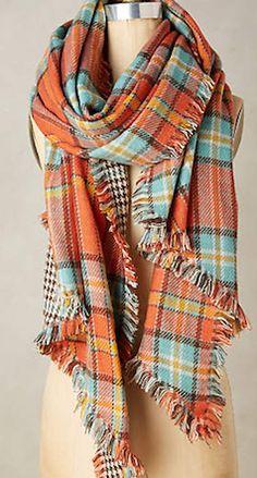 Plaid oversized orange scarf