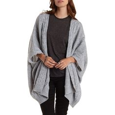 Charlotte Russe Gray Cable Knit Poncho Cardigan Sweater by Charlotte... ($30) ❤ liked on Polyvore