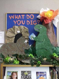 Bulletin board for SRP 2013 - Graham Public Library Dinosaur Theme Preschool, Dinosaur Crafts, Preschool Activities, Dinosaur Classroom, Display Boards For School, School Displays, Library Displays, Dinosaur Bulletin Boards, Preschool Bulletin Boards