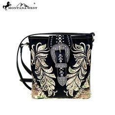 MONTANA WEST CROSSBODY MESSENGER PURSE HANDBAG WESTERN BUCKLE BLACK CAMOUFLAGE   #MontanaWest #MessengerCrossBody