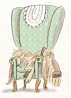 "Fred Blunt - ""sleepy dog on posh chair"" Dog Illustration, Character Illustration, Sleepy Dogs, Fred, Design Graphique, Dog Art, Illustrators, Art Drawings, Character Design"