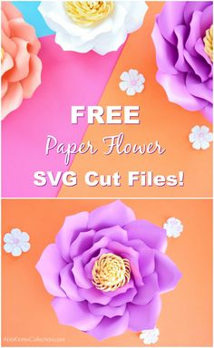 Free Flower Template: How to Make Large Paper Flowers Free giant paper flower svg cut files to use with Cricut! Large Paper Flower Template, Large Paper Flowers, Paper Flower Tutorial, Giant Paper Flowers, Diy Flowers, Flower Ideas, Flower Svg, Flower Wall, Flower Pots