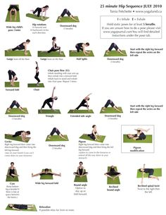 yoga hip sequence - many of these are used in my prenatal yoga classes