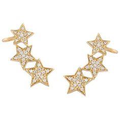 Alinka Stasia Diamond Triple Star Earring (32.114.875 IDR) ❤ liked on Polyvore featuring jewelry, earrings, metallic, diamond earrings, earrings jewelry, metallic jewelry, diamond jewellery and star jewelry