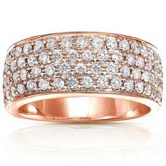 Annello by Kobelli 14k Gold 1ct TDW Diamond Pave Band and Gift Box (H-I, I1-I2) (Rose - Size 10), Women's, White H-I