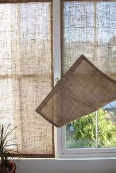 Creative Window Treatments Burlap Shades love this idea for the French doors. Summer gets real HOT where they're located.Burlap Shades love this idea for the French doors. Summer gets real HOT where they're located.
