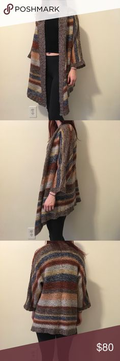 Splendid Striped Wool Blend Cardigan Sweater Splendid striped sweater with a wool blend that has an open cardigan style! Size extra small/small and is in good condition! Splendid Sweaters