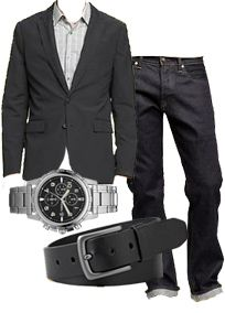 Dress to Impress Men's Edition - Blazer + Jeans by the Gap; Watch + Belt by Fossil