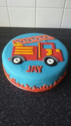 2nd Birthday Boys, Fireman Birthday, Fire Engine Cake, Fireman Sam Cake, Fondant Cupcake Toppers, Party Cakes, Cake Designs, Birthday Cakes, Food