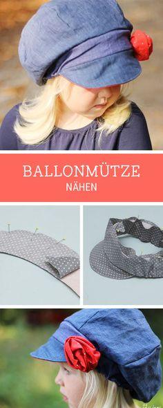 Nähanleitung für eine süße Ballonmütze für Kinder, Nähen für Kinder / sewing for kids: pattern for a baker's boy cap via DaWanda.com