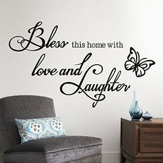 Love Laughter Butterfly Butterfly Quote Wall Sticker Hoom Decor Vinyl Art Removable Decals Mural^Black -- Be sure to check out this awesome product.