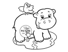 Cute Baby Hippo animal coloring page for kids animal coloring