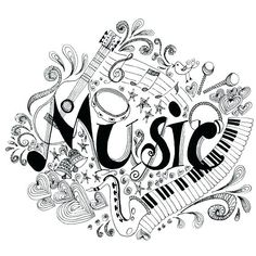 Printable Music Coloring Pages Awesome Printable Coloring Page Zentangle Music Coloring Book Mandala Coloring Pages, Colouring Pages, Adult Coloring Pages, Coloring Books, Music Tattoo Designs, Music Tattoos, Music Doodle, Doodle Art, Musik Clipart
