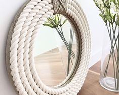 SMALL 41cm 16inch Handmade Hampton Style Round Rope Mirror | Etsy Round Mirror With Rope, Rope Mirror, Beach Mirror, Macrame Mirror, Nautical Mirror, Nautical Home, Mirror Crafts, Diy Mirror Decor, Rope Decor