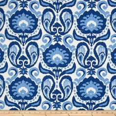 Golding Grand Ikat Blue from @fabricdotcom  Screen printed on cotton duck; this medium weight fabric is soil resistant and versatile. This fabric is perfect for window treatments (draperies, valances, curtains, and swags), duvet covers, pillow shams, accent pillows and upholstery. Colors include shades of blue and white.