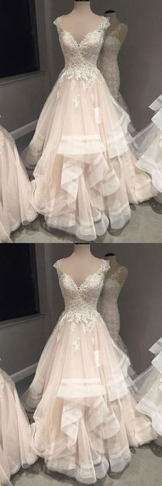 Champagne tulle long cap sleeves wedding dress, formal bridal dresses P0107 #promdresses #longpromdresses #2018promdresses #2018newstyles #fashions #styles #hiprom #ballgown #champagne