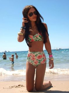I really want this. Floral High Waisted Swimsuit