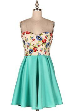 STRAPLESS FLORAL TAFFETA FLARE DRESS.  #11B-D6785