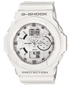 G-Shock Watch, Men's Analog Digital White Resin Strap 55x52mm GA150-7A - All Watches - Jewelry & Watches - Macy's