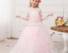 pink long sleeves girl dress