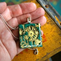 Dandelion - Polymer Clay And Resin Pendant on Silver Ball Chain Necklace