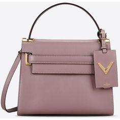 Valentino Garavani My Rockstud Small Single Handle Bag (48.430 CZK) ❤ liked on Polyvore featuring bags, handbags, mauve, studded leather purse, valentino purses, brown leather purse, valentino handbags and studded purse