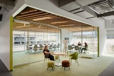 Ancestry Offices - Lehi - Office Snapshots  wood ceiling & accent paint at wall edges/faces