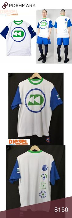 """Diesel Tribute Aquahollic Diver White T-Shirt NWT Diesel Tribute by Nicola Formichetti Aquahollic Small Capsule Collection SS 2015 Diver White with Blue sleeves T-shirt. Diesel takes on a fun, sporty, 90s-inspired line.  Size: L * Shoulder-to-shoulder: 21 ¼ * Armpit-to-Armpit: 22 ½"""" * Full Chest: 45 * Collar/Shoulder to bottom hem: 30 * Sleeve Length: 9 ½ * Side Seams: 17 ¾  Details: * Bright Rubber-like coated graphics for the blue areas * Soft Fabric * 80%Cotton, 15% Nylon, 5% Elastane…"""