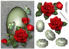 Filigree Framed Red Roses A5 - CraftsuPrint