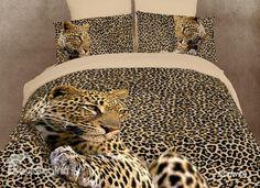Amazing Leopard Print 4 Piece Comforter Sets/Duvet Cover Bedding Sets