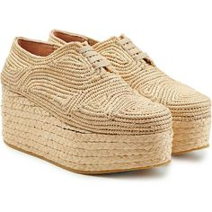 Robert Clergerie Woven Raffia Platform Lace-Ups (555 BGN) ❤ liked on Polyvore featuring shoes, beige, beige shoes, robert clergerie shoes, espadrille flats, chunky platform shoes and lace up flat shoes