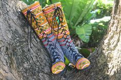 Ethnic Hmong Women's Boots Yellow Embroidery by SiameseDreamDesign, $74.00