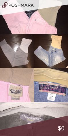 A Pea in the Pod & Motherhood Maternity pants Gray Pea in the Pod- XS, blue jean motherhood- S, light pink motherhood- S. All are crop pants !!! Perfect condition . Worn MAYBE once. Message about separating listings, bundling, and prices A Pea in the Pod Pants