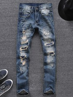 Men's Blue Skinny Ripped Jeans for men Denim