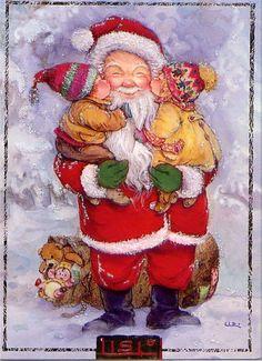 kissing Santa's cheeks -- © Lisi Martin (1944, Spanish); Theme: Christmas and children