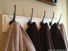Hang A Coat Rack Rather than Multiple Towel Rods. Towel storage is a big issue in a shared bathroom.  Instead of installing multiple towel rods to organize your towels, I encourage you to use a coat rack. A coat rack usually comes with four to six hooks, allowing you to hang each towel separately. Most importantly, compared to multiple rods, a single coat rack will make your tiny space more visually appealing.