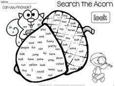 FREE Fall and Autumn Fun! Help the squirrel search his acorn! Fall for Kinder Kids FREEBIE has 3 fun Language and Math Fall themed NO PREP printables and 8 illustrated Fall Word Wall cards.