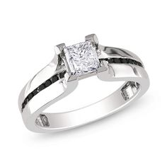 1 CT. T.W. Enhanced Black and White Princess-Cut Diamond Ring in 14K White Gold