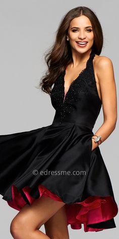 Lace Applique Mikado Cocktail Dress by Faviana #edressme