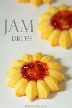 Eggless Jam Biscuits - How to make eggless jam biscutis / jam drop biscuits, eggless jam cookies - Summer vacation is almost here, Sid is busy with his finals and will . Jam Drop Biscuits, Custard Biscuits, Eggless Biscuits, Custard Cookies, Jam Cookies, Yummy Cookies, Cookies Kids, Drop Cookies, Eid Biscuits