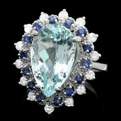 14k Gold 5.00ct Aquamarine 0.55ct Diamond Ring : Lot 57C