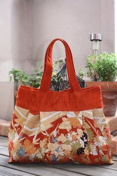 OR235 Small Flowers Pleated Tote Bag In Orange by RummyHandmade, $65.00