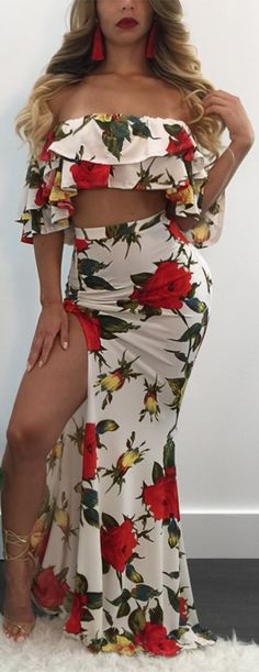 Floral Bardot Ruffle Crop Top and Print Split Maxi Skirt